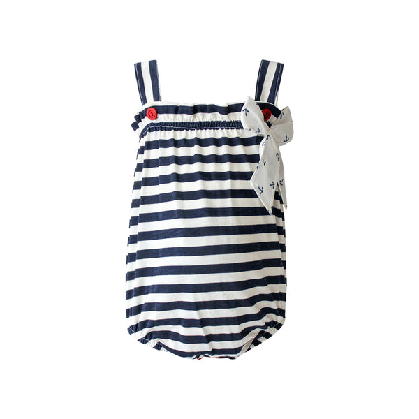 House of Little Jay | Girls Striped Blue Romper