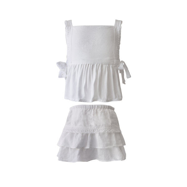 House of Little Jay | White Top & Skirt Set