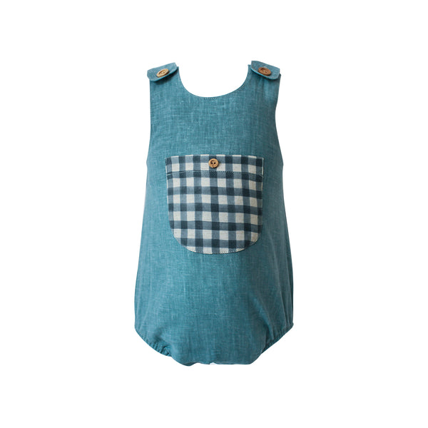 House of Little Jay | Light Blue Gingham Romper