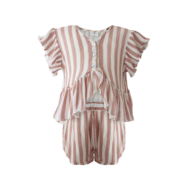 House of Little Jay | Pink Striped Top & Short Set
