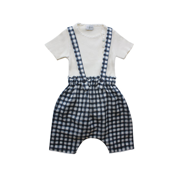 House of Little Jay | White T-Shirt & Checkered Overall