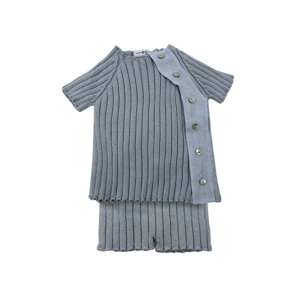 House of Little Jay | Blue Knitted Top & Bloomer