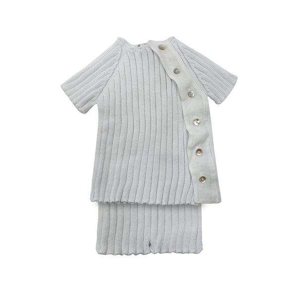 House of Little Jay | White Knitted Top & Bloomer