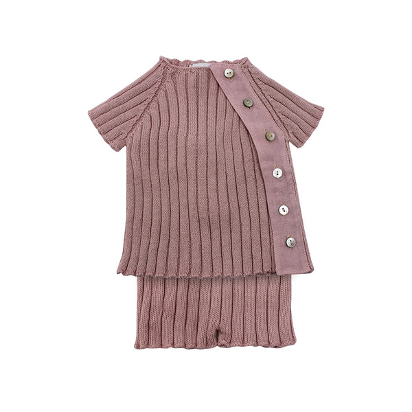 House of Little Jay | Pink Knitted Top & Bloomer