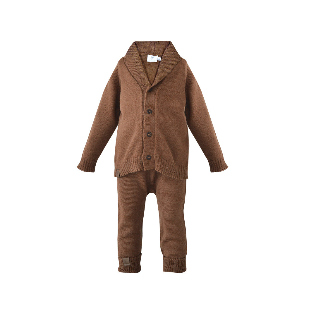 House of Little Jay | Brown Knitted Alpaca Jacket and Pants