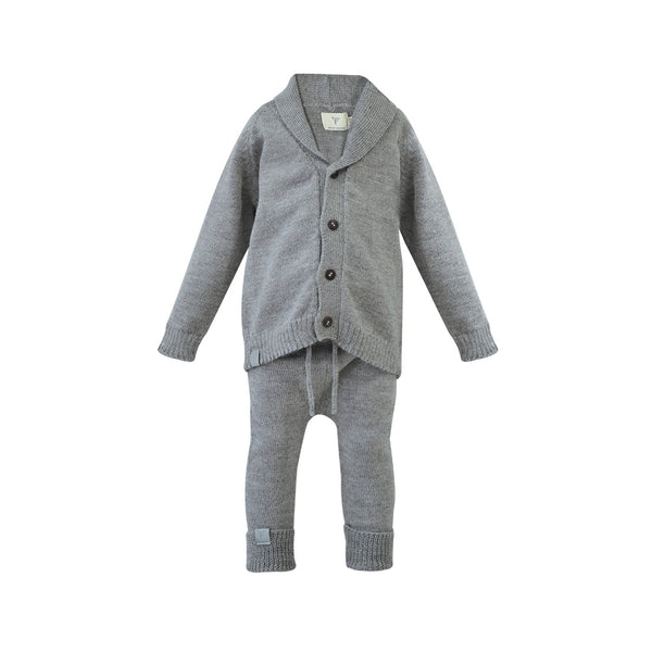 Grey Knitted Alpaca Jacket & Pants
