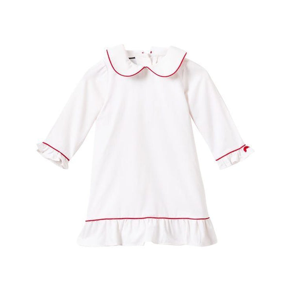 House of Little Jay | White Nightgown with Red Piping