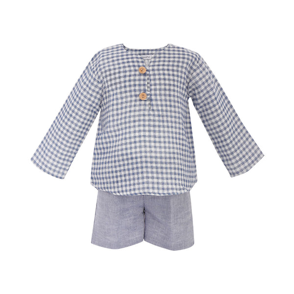 House of Little Jay | Gingham Shirt & Indigo Shorts