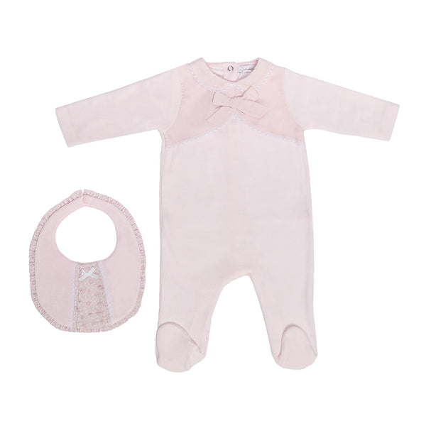 House of Little Jay | Pink Bow Onesie with Bib