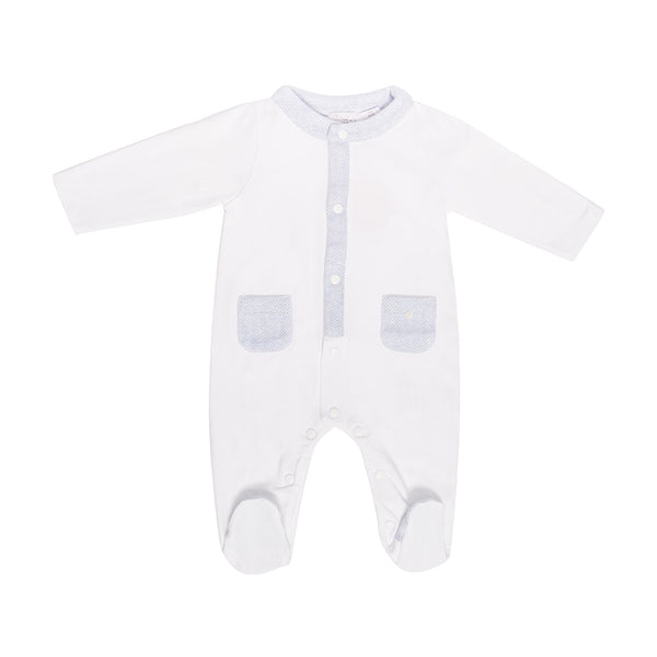 House of Little Jay | White/Blue Onesie