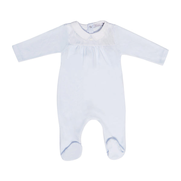 House of Little Jay | Blue Velour Onesie