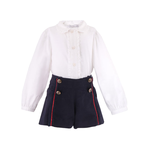 House of Little Jay | White Blouse and Navy Shorts