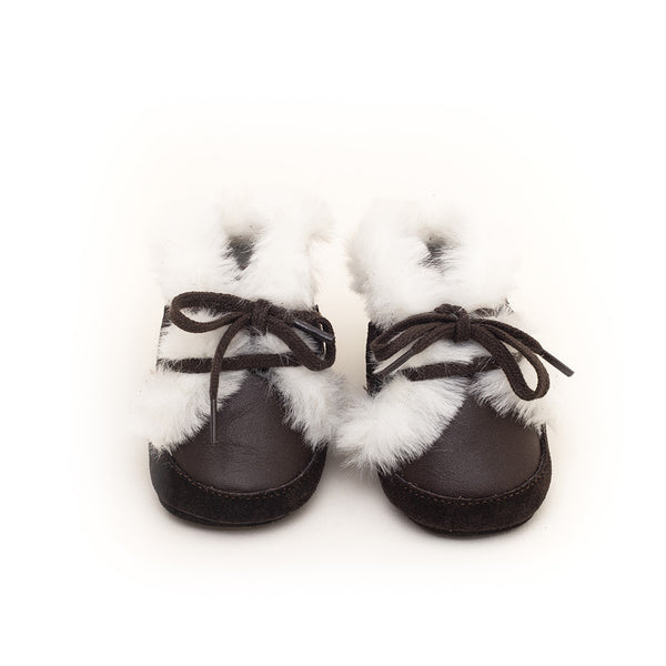 House of Little Jay | Brown & White Fur Booties