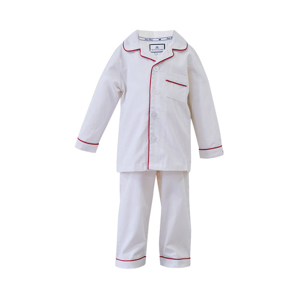 House of Little Jay | Classic White Pajamas with Red Piping