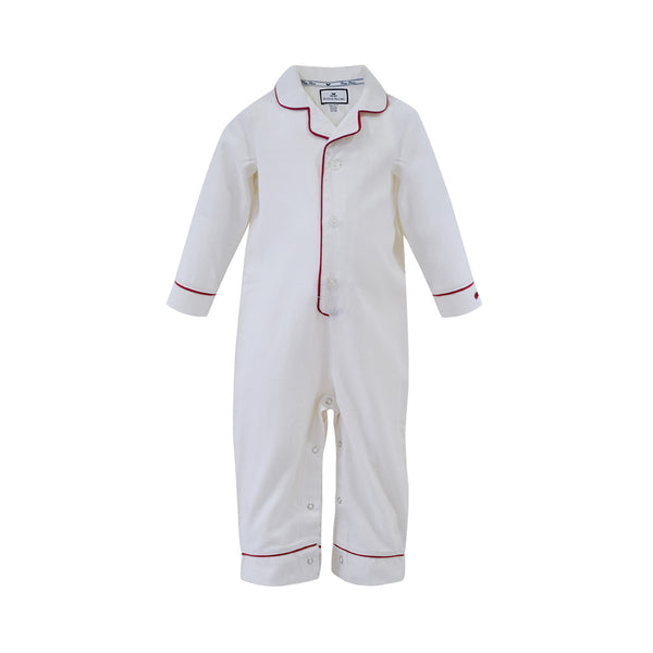 House of Little Jay | White Romper with Red Piping