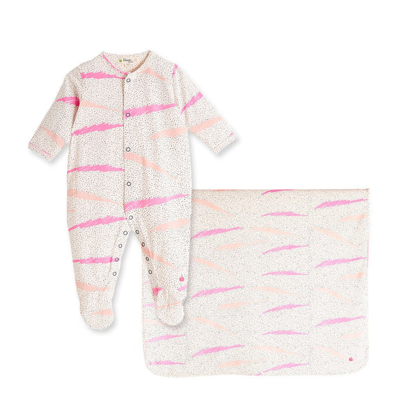 House of Little Jay | Pink Sleepsuit and Printed Blanket
