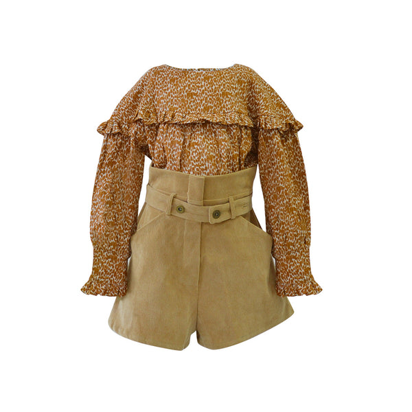 House of Little Jay | Leopard Print Top & Beige Shorts