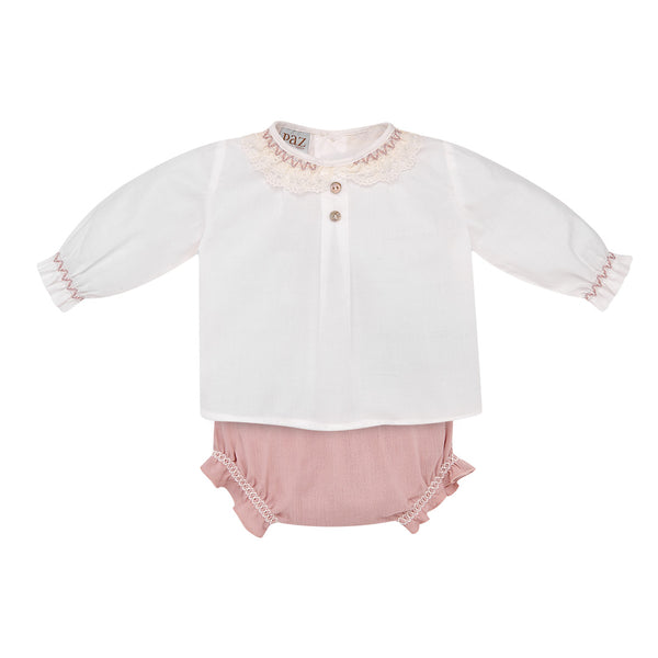 House of Little Jay | White Blouse & Pink Shorts