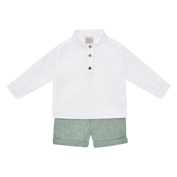 House of Little Jay | White Shirt & Olive Green Shorts
