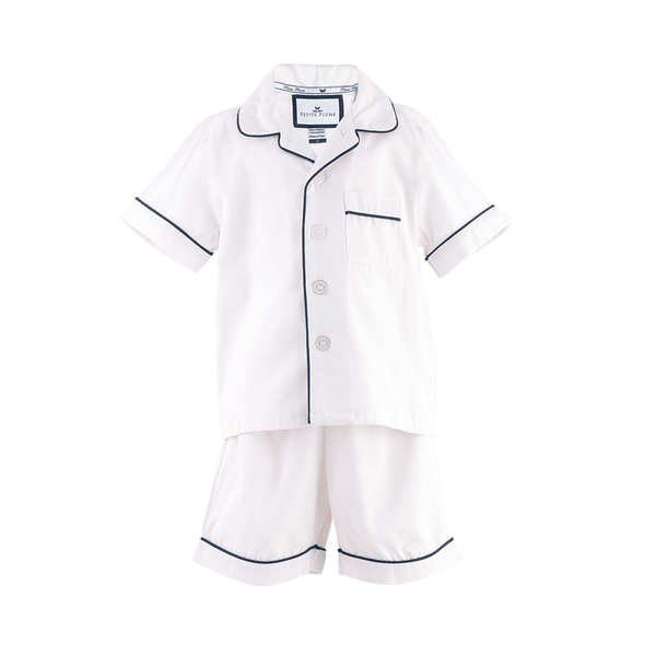 House of Little Jay | Classic White Short Set with Navy Piping