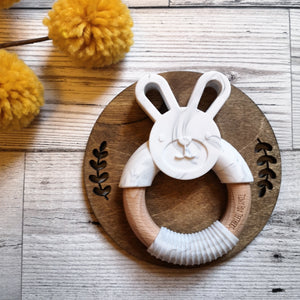 Bunny silicone and beech teether in marble