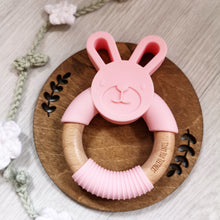 Load image into Gallery viewer, Bunny silicone and beech teether in pink
