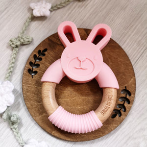 Bunny silicone and beech teether in pink