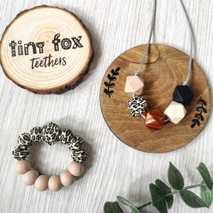Neutral Leopard: Vixen teething & breastfeeding necklace