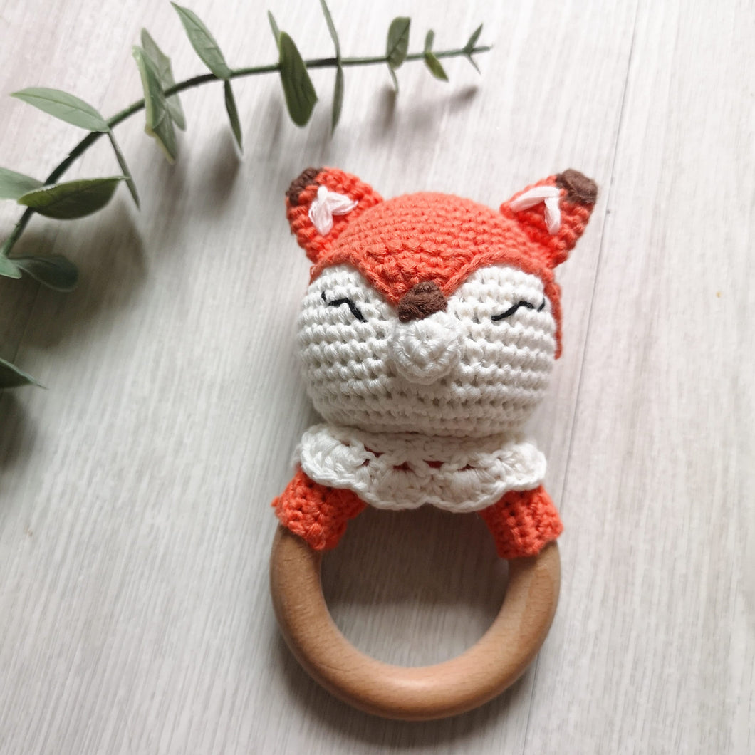 Crochet fox rattle teether