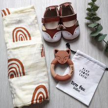 Load image into Gallery viewer, Fox teether, muslin and pram shoes new baby gift set