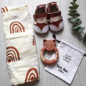 Fox teether, muslin and pram shoes new baby gift set