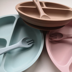 Silicone suction divided plate with fork