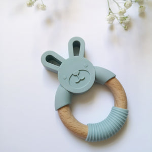 Bunny silicone and beech teether