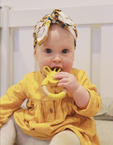 Bunny silicone and beech teether in mustard