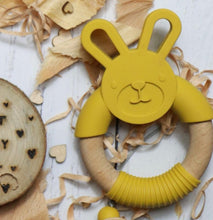 Load image into Gallery viewer, Bunny silicone and beech teether in mustard