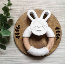 Load image into Gallery viewer, Bunny silicone and beech teether in marble