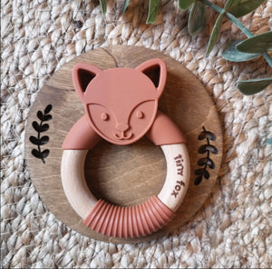 Fox silicone and beech teether