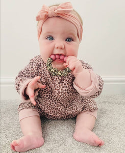Leopard: Gift set teething necklace & teething ring