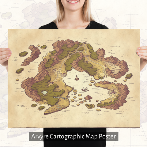 Arvyre Cartographic Map Poster: Museum-Quality On Thick & Durable Paper
