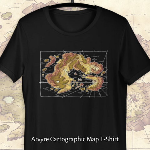 Arvyre Cartographic Map T-Shirt in Black or Army, S to 3XL