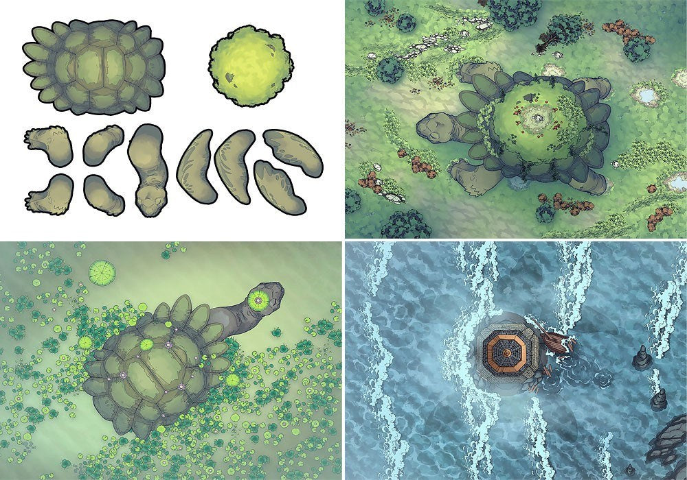 Colossal Turtle Battle Map Pack for RPG Tabletop fans