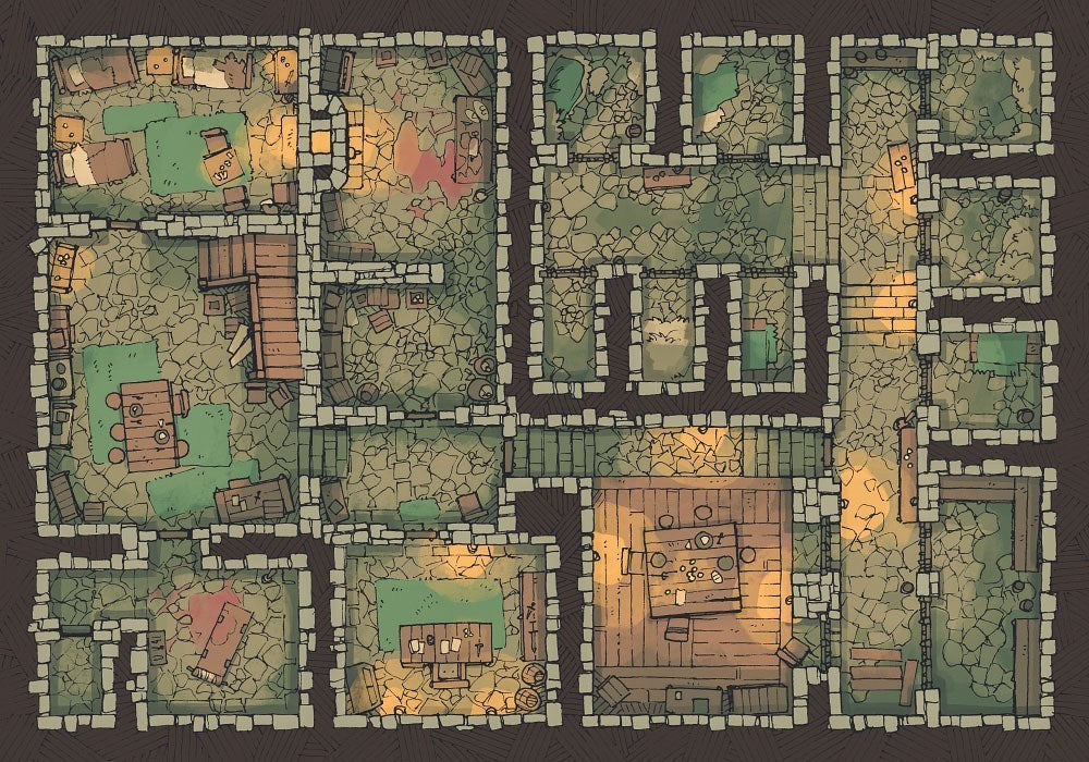 Dungeon Jail (22x16) - Base Map, Light for RPG Tabletop