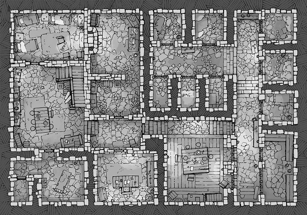 Dungeon Jail Prison Battle Map - Black and White