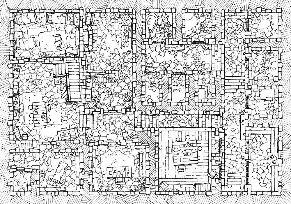 Dungeon Jail Prison Battle Map - Line Art for RPG Tabletop