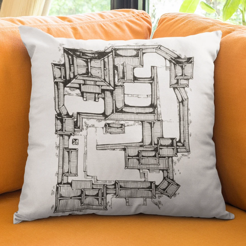Samurai Castle Map Pillow Case