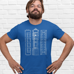 Steam Locomotive Blueprint T-Shirt