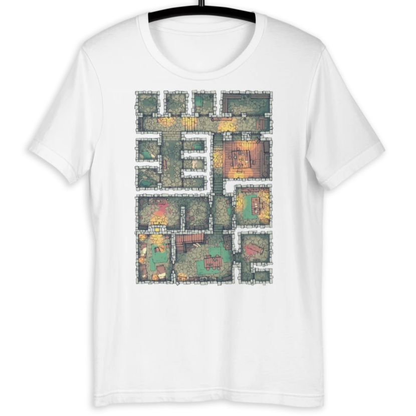The Dungeon T-Shirt (White) for RPG Tabletop fans