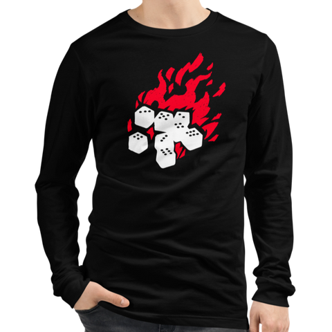 Fireball Unisex Premium Long Sleeve T-Shirt (Black) for Dungeons and Dragons players