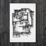 Samurai Castle Map Canvas Wall Art