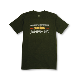Swimbait Underground X Swimbait 24/7 Short Sleeve Shirt - Olive Heather